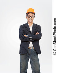 portrait of young engineer man standing with smiling face isolat
