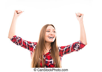 Portrait of young excited girl on white background