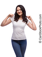 portrait of young excited woman in blank white t-shirt with extended arms, isolated