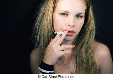 young fair-haired girl with cigarette - Portrait of young ...