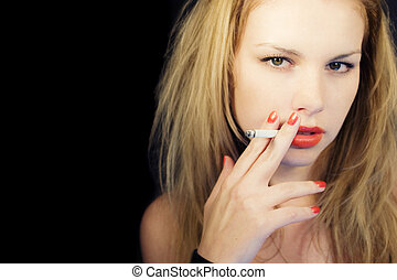 young fair-haired girl with cigarette