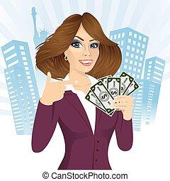 bank representative holding a fan of money