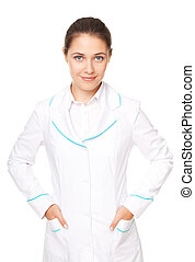 Portrait of young female doctor isolated on white background