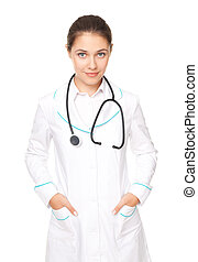 Portrait of young female doctor with arms crossed isolated on white background