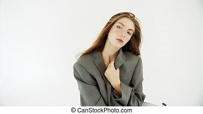 Portrait of Young Female Model - Young fashionable woman ...