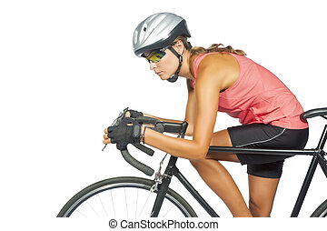 portrait of young female professional cycling athlete posing...