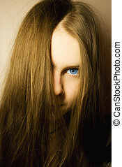 young girl with blue eyes