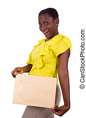portrait of young girl with envelope, happy.
