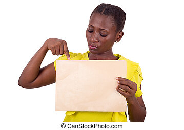 portrait of young girl with envelope.