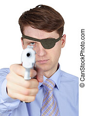 Portrait of young guy with eye-patch shooting a pistol