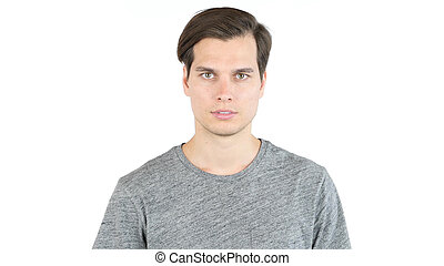 Portrait of Young handsome man, Isolated over white background.