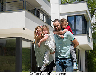 happy family with children in the yard