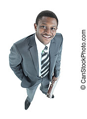 Portrait of young happy smiling business man, Top view.