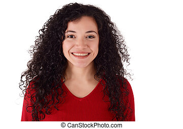 Portrait of young latin woman in a studio.