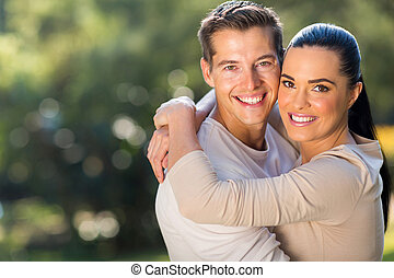 young loving couple hugging