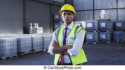 Portrait of young male warehouse worker 4k - Portrait close ...