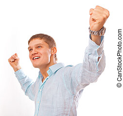 Portrait of young man celebrating success isolated on white