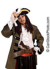 Portrait of young man in a pirate costume with pistol