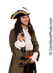 man in a pirate costume with pistols