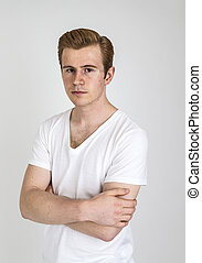 portrait of young man in studio