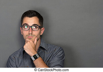 man looking up to copy space