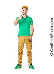 Portrait of young man posing in studio isolated on white.
