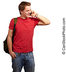 portrait of young man talking on mobile over white background