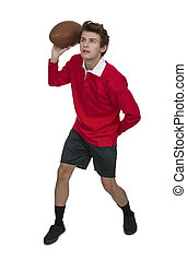 Portrait Of Young Man Throwing Rugby Ball