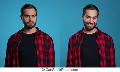 Portrait of young man with beard on blue background in studio. Guy depicts emotion of approving, agreement and rejection at the same time, collage.