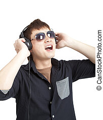 portrait of young man with glasses and headphones isolated on white