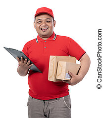 portrait of young man with red uniform delivering boxes and holding clipboards