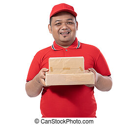 portrait of young man with red uniform delivering boxes to customer