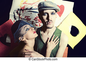 portrait of young men and women in retro style