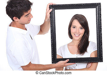 portrait of young people with frame