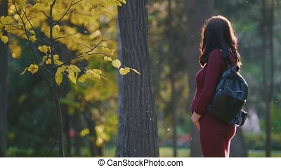 Portrait of young pregnant woman standing at autumn park among golden leaves, stroke her belly