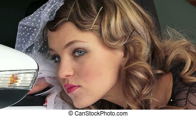 Portrait of Young Pretty Woman In Retro Style