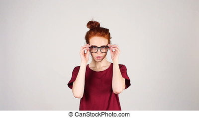 Portrait of young redhead girls with glasses. - Portrait of...