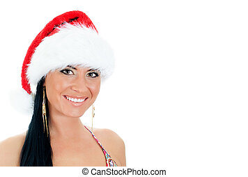 Portrait of young sexy woman wearing christmas hat. Isolated on white