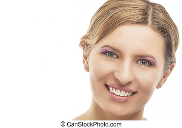 portrait of young smiling pretty blond woman