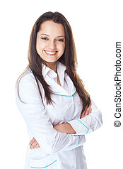 Portrait of young smiling woman doctor