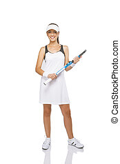 Portrait of Young Smiling Woman With Tennis Racket