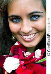 smiling women with petals