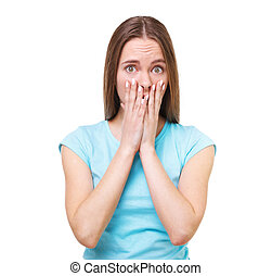 Portrait of young surprised woman isolated on white.