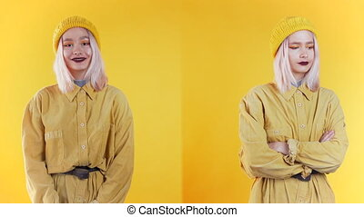 Portrait of young teen girl on yellow background in studio. Woman depicts emotion of approving, agreement and rejection at the same time, collage.