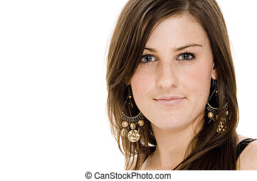 A beautiful young woman on white background