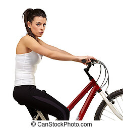 portrait of young woman cycling over white background