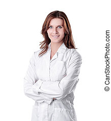 portrait of young woman doctor isolated on white.