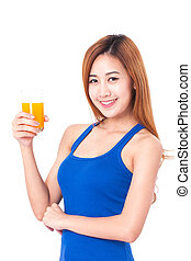 young woman drinking orange juice.