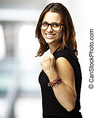 woman gesturing victory - portrait of young woman gesturing ...