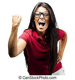 portrait of young woman gesturing victory over white background